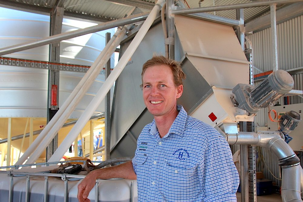 Lachlan with the feed mill at their field day in 2017